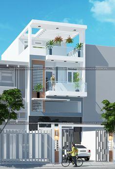 nhà ống mặt tiền 5m Narrow House Designs, Narrow House Plans, Modern Small House Design, Minimalist House Design, 3 Storey House Design, Duplex House Design, House Front Design, Independent House, Style At Home
