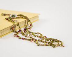 #Fiber #necklace #Czechglass #crochet necklace #Green and #pink fiber #jewelry