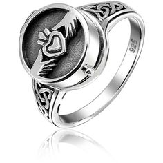 Bling Jewelry Sterling Silver Claddagh Heart Locket Poison Ring |... ($28) ❤ liked on Polyvore featuring jewelry, rings, grey, heart ring, sterling silver celtic knot ring, band rings, heart locket and heart crown ring