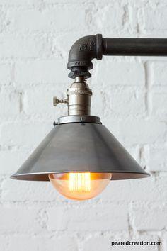 Industriële vloerlamp metalen schaduw door newwineoldbottles