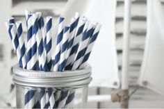 Paper Straws - Navy Blue by Teelee - A Bits & Bobs Brand Navy Stripes, Navy Blue, Hipster Chic, Diy Party Supplies, Paper Straws, Planter Pots, Bobs, Pretty, Stuff To Buy