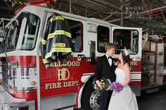 #Fireman #wedding photos fire truck chicago
