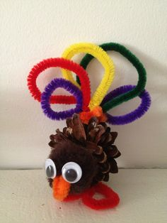 Craft for Kids: Pine Cone Turkey Craft Thanksgiving Craft for Kids: Pine Cone Turkey Craft pinned from The Shady Porch Holiday Party!Thanksgiving Craft for Kids: Pine Cone Turkey Craft pinned from The Shady Porch Holiday Party! Thanksgiving Crafts For Toddlers, Easy Crafts For Kids, Toddler Crafts, Crafts To Do, Fall Crafts, Holiday Crafts, Holiday Fun, Diy Crafts, Thanksgiving Ideas