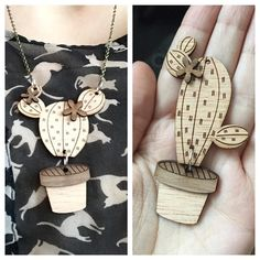 Put together the pieces from the laser print really excited about how these turned out! #lasercut #wood #cactus #necklace by mlebea