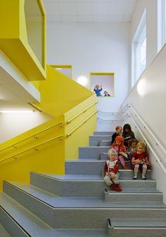 Sjötorget Kindergarten / Rotstein Arkitekter, stair, forum, handrail, color yellow, relites, ACP