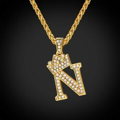Iced Out Initial N Letter Necklace Diamond Crown Wheat Chain Jewelry Gift For Men & Women Prom Jewelry, Rhinestone Jewelry, Cute Jewelry, Modern Jewelry, Jewelry Gifts, Gold Jewelry, Chain Jewelry, Glass Jewelry, Handmade Jewelry