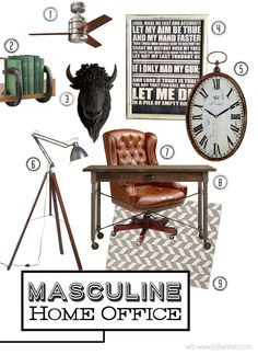 Masculine home office ideas, love it!!