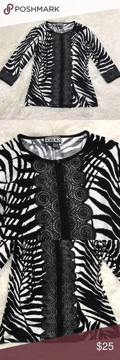 Berek Zip Up Cardigan Sweater Women's size small black & white zebra print Berek 2 zip up, 3/4 length sleeve knit cardigan sweater. 55% cotton, 45% rayon. Berek Sweaters Cardigans