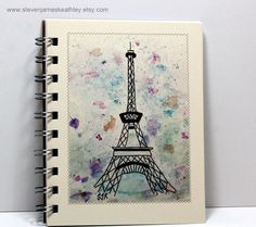 eiffel tower drawings sketches   ... Sketch Book Diary - Eiffel Tower - Original Watercolor Art - Ivory