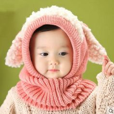 baby hat Toddler Kids Girls Boy Hats Coif Hood Kintted Woolen Scarves Caps Winter Warm Cap baby lamb fur hats adorable red pink-in Hats & Caps from Mother & Kids on Aliexpress.com | Alibaba Group