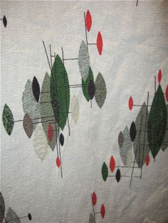 vintage barkcloth fabric curtain abstract trees green red grey atomic mod 3+ yds $80 (or make an offer)