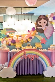 Anya's Whimsical Fairies and Unicorns Themed Party – Dessert spread 7th Birthday Party For Girls Themes, 1st Birthday Girl Decorations, Rainbow First Birthday, Sunshine Birthday Parties, Rainbow Party Decorations, Unicorn Themed Birthday Party, 1st Birthday Party For Girls, Rainbow Theme, Samar
