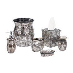 The Moroccan Tile tissue cover is an artful display of craftsmanship wherever you may need a tissue handy. Hand applied mirrored glass creat...