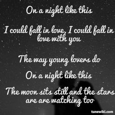 """-- #LyricArt for """"On A Night Like This"""" by Dave Barnes"""