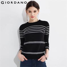Cheap pullover sweater, Buy Quality women sweater directly from China sweater winter Suppliers: Giordano Women Sweater Crewneck Stripe Three Quarter Length Sleeve Cotton Pullover Sweater Winter Tops Mujeres Warm Clothes