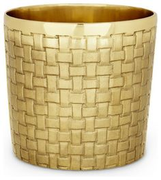 Solid brass, woven cache pot is handmade in India, perfect for chilling a bottle of wine, this ornamental container adds easy elegance to any room
