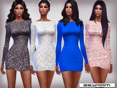 Short dress with long sleeve Found in TSR Category 'Sims 4 Female Clothing Sets'