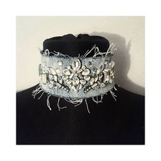 Instagram media by demodejewelry - Denim crystal choker