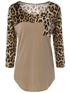 Pockets Leopard Print T-Shirt