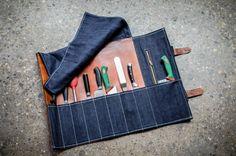 BLUE DENIM & LEATHER KNIFE ROLL – Butcher and Baker