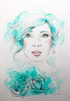 'Blue Spring' / Watercolour / Artist - Ame Soler