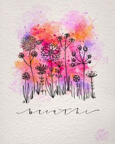 After a week filled with tricks and treats (ok, mostly treats 🙈) it's time to relax this weekend ☺️ Well, after I have selected the winner… Watercolor And Ink, Watercolour Painting, Watercolor Flowers, Painting & Drawing, Watercolors, Drawing Eyes, Art Carte, Happy Paintings, Flower Cards