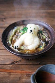 Polar bear shaped radish in Japanese hot pot