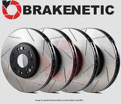 [FRONT + REAR] BRAKENETIC PREMIUM SLOTTED Brake Disc Rotors BPRS70421