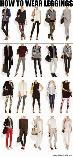 World of Women Fashion: Leggings with Suitable Shoes,Handbags and Clothes