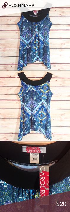 """Carol Rose Paisley Shark Bite Hem Top Medium NWT Brand new with tags. NWT. Carol Rose paisley shark bite hem tunic with black trim collar. Has a soft, silky feel. Cool and flowy.  Poly / Spandex blend makes it cool, and drapes perfectly. Size medium.  Bust 18.5"""" across.                                                            🔹Please ask all your questions before you purchase!  🔹Sorry, no trades. 🔹Bundle for best prices! Carol Rose Tops Tunics"""
