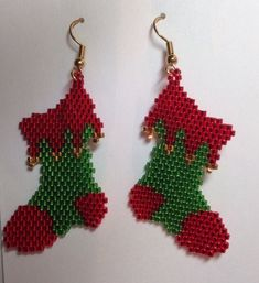 These beadwoven earrings are made with delica seed beads. They measure approx. 2 long including the gold plated stainless steel ear wires. These can be made in custom colors. Beaded Earrings Patterns, Seed Bead Patterns, Beading Patterns, Bracelet Patterns, Beaded Christmas Ornaments, Noel Christmas, Christmas Jewelry, Bead Jewellery, Seed Bead Jewelry
