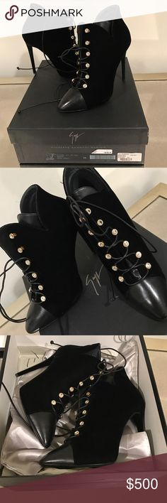 Giuseppe Zanotti velvet and leather booties NWT Giuseppe Zanotti velvet and leather booties NWT never worn gorgeous shoes size 38 comes with box and dust bag price firm Giuseppe Zanotti Shoes Lace Up Boots