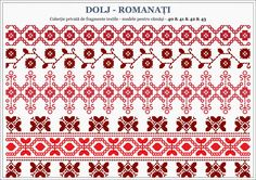Semne Cusute: Romanian traditional motifs - OLTENIA, Dolj-Romana... Folk Embroidery, Embroidery Patterns, Stitch Patterns, Knitting Patterns, Popular Costumes, Palestinian Embroidery, Beading Patterns, Blackwork, Pixel Art