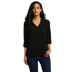 New Summer Fashion Women Blouses European Casual Solid V-Neck Full Sleeve Chiffon Shirt Tops Plus Size Simple Blusas Femme