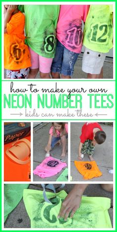 Neon Number Tee - Sugar Bee Crafts. What a good idea for family reunions, have the grandkids paint numbers in  their age order and then take pics.