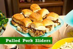 Food: Pulled Pork Sliders on Hawaiian Rolls  {via Piggy Bank Parties}