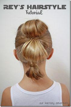 Rey's Hairstyle Tutorial- Star Wars Hairstyles-Halloween Costume Hair Ideas