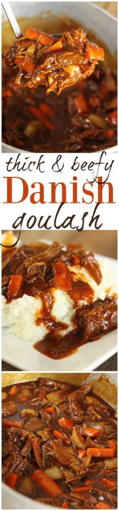 This Danish Goulash is the perfect Sunday-dinner/comfort food meal. Rich, meaty, and oh so delicious! A great way to use up leftover Sunday roast.  via @favfamilyrecipz