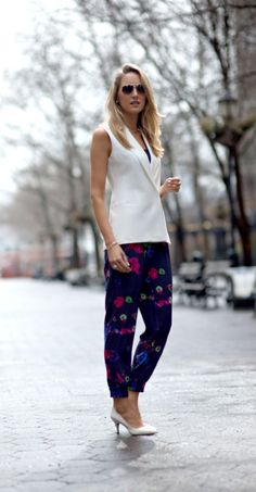 printed pants with white top
