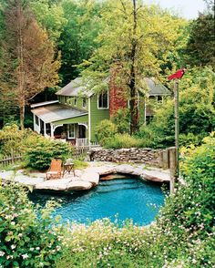 """Vintage Farmhouse: Helena Christensen Love when pools, hot tubs look """"natural"""""""