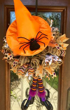 Burlap witches hat and legs halloween wreath www.facebook.com/southernsass