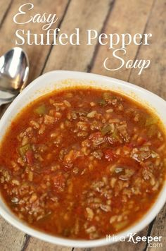 This easy Stuffed Pepper Soup is packed with flavor and is a great 30 minute meal! It's the perfect easy dinner recipe or quick meal for busy weeknights.