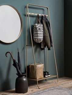 Coat Rail Rack in Brass / Gold Hallway Coat Rack, Hallway Storage, Shoe Storage Entrance Hall, Home Furniture, Furniture Design, Wooden Furniture, Lounge Design, Home Decor Inspiration, Home And Living
