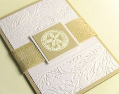 Any Color, Beach Wedding Invitations, Destination Wedding Invitations, Embossed Sand Dollar and Leaves, Elegant Pearl, Burlap
