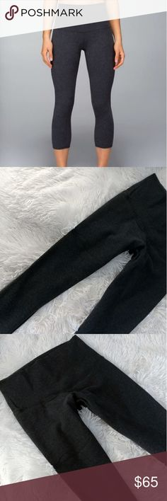 Lululemon High Rise Wunder Under Crop Tights Flattering fit. Lululemon High Rise Wunder Under crop leggings. Excellent condition. No pilling or tears. Crop length. So very soft. Cotton mix material. Logo on the lower leg. Dark grey. Size 6. Tag removed for comfort.  * I do not do trades *  * I will try to post more photos soon :) * lululemon athletica Pants
