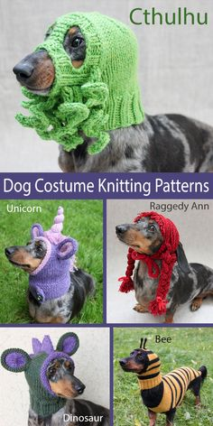 dog crocheted sweaters Knitting Pattern for Dog Costumes and Hats - A variety of individual dog hoods, masks, hats, and costumes for Halloween or fun any time including Cthulhu, Knitting Patterns For Dogs, Crochet Dog Patterns, Dog Clothes Patterns, Knitted Dog Sweater Pattern, Knit Dog Sweater, Snood Pattern, Crochet Dog Clothes, Pet Clothes, Dog Hats Crochet