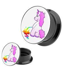 Piercingfaktor Ohr Plug Flesh Tunnel Piercing Schmuck Kunststoff Schraub Schraubverschluß mit Picture Motiv pinkelndes Einhorn #geschenk #einhorn #unicorn