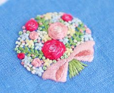 花束の刺繍