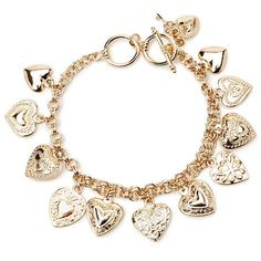 Forever 21 Heart Charm Bracelet ($5.90) ❤ liked on Polyvore featuring jewelry, bracelets, accessories, pulseira, heart charm bracelet, heart lock charm, heart bangle, heart shaped jewelry и charm jewelry
