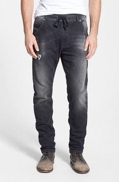 Free shipping and returns on DIESEL® 'Krooley Jogg' Slouchy Slim Fit Jeans (0835B) at Nordstrom.com. DIESEL's slim, slouchy jogger-style jeans are crafted from a stretchy cotton blend in soft, amply distressed jersey that gives the appearance and durability of denim with the softness of sweats in a classic five-pocket style. Men Trousers, Denim Pants, Denim Men, Men's Jeans, Jogg Jeans, Nordstrom Jeans, Diesel Jeans, Fashion Joggers, Denim Trends